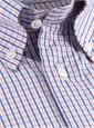 Orange and Blue Check Button Down