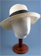 Ladies Medium Brim Sun Hat with Black Pinstriped Ribbon
