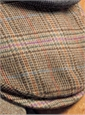 Wool Helmsley Cap in Beige and Nut Glen Plaid with Multi-Color Windowpane