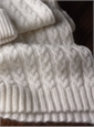 Cashmere Cable Knit Scarf, Cap and Gloves in White