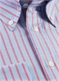 Blue Oxford Button Down with Red Stripe
