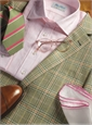 Slate Blue, Rose, and Cream Glen Plaid Sport Coat in Cotton, Silk, and Linen
