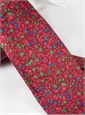 Silk Floral Print Tie in Red