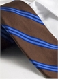 Silk Woven Triple Stripe Tie in Chocolate