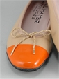 Contrast Toe Beige and Orange Flats