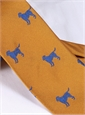 Jacquard Woven Lab Motif Tie in Marigold and Cornflower Blue