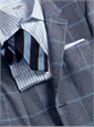 Navy Blue and Ivory Glen Plaid Cashmere Sport Coat