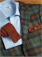 Field Green Wool Sport Coat with Orange and Yellow Windowpanes