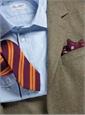Sage Broken Bone Sport Coat in Wool and Cashmere with Windowpane in Fuchsia and Orange