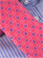 Silk Print Diamond and Square Motif Tie in Strawberry