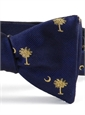 BJ32A- Palmetto and Moon Tie in Navy and Gold