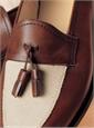 The Split Toe Tassel Loafer in Brown and Linen