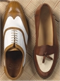 The Split Toe Tassel Loafer in Brown and Linen