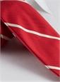 Silk Woven Bar Stripe Tie in Red