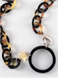 Oval Link Eyeglass Pendant in Black and Tortoise