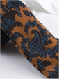 Wool Print Paisley Tie in Copper