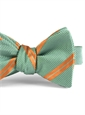 Mogador Silk Double Stripe Bow in Pistachio with Orange