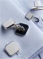 Sterling Silver White Enameled Cufflinks and Stud Set