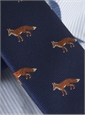 Silk Woven Fox Motif Tie in Navy