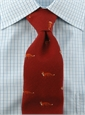 Wool/Silk Fox Tie in Red