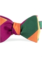 Mogador Block Stripe Bow in Fuchsia, Forest, and Tangerine