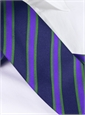 Silk Woven Stipe Tie in Navy and Violet