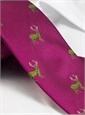 Silk Woven Elk Motif Tie in Fuchsia