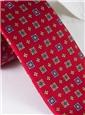 Silk Neat Print Tie in Ruby