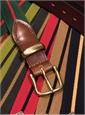 Stripe Stretch Belts with Leather Tabs and Brass Keepers, Size 36