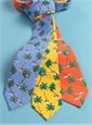 Silk Printed Palm Tree Tie in Tangerine