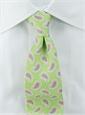 Silk Print Paisley Tie in Lime