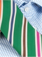 Mogador Silk Multi Color Stripe Tie in Kelly