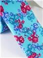 Silk Floral Print Tie in Aqua