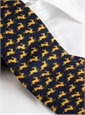 Silk Print Rabbit Motif Tie in Navy