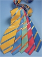 Mogador Silk Double Stripe Tie in Brass with Cobalt