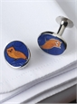 Oval Cufflinks with Owl in Blue