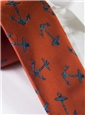 Silk Woven Anchor Motif Tie in Copper
