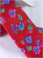 Silk Floral Print Tie in Ruby