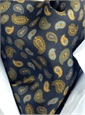 Silk Printed Paisley Ascot in Navy