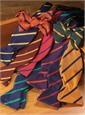 Mogador Silk Bar Stripe Bow in Purple with Orange