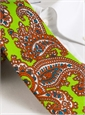 Silk Print Large Paisley Tie in Lime