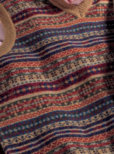 Lambswool Fair Isle Sweater Vest in Sable
