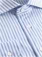Sky Blue Candy Stripe Cutaway Collar in Linen