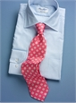 Silk Print Tie with a Circle Motif in Rose