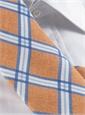 Linen Print Plaid Tie in Peach