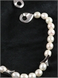 White Pearl Necklace with Silver Branches