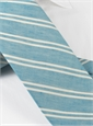 Linen and Cotton Double Stripe Tie in Aqua