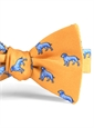 Silk Print Dog Motif Bow in Marigold