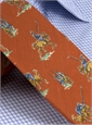 Silk Print Polo Player Motif Tie in Tangerine