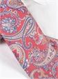 Silk Paisley Printed Tie in Coral